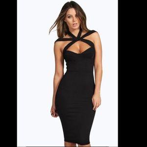 Midi Dress / Strappy Top Detail Bodycon